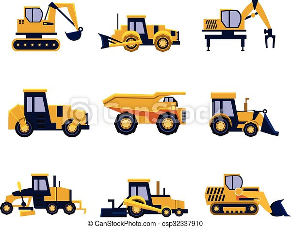 Construction Equipment Road Roller Excavator Bulldozer And Tractor Car Flat Icon Set Vector