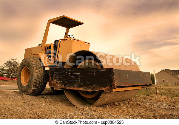 Construction Equipment With Colourful Sky Background Wide Stock