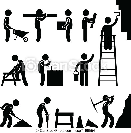 construction, fonctionnement dur, main-d'œuvre - csp7196554