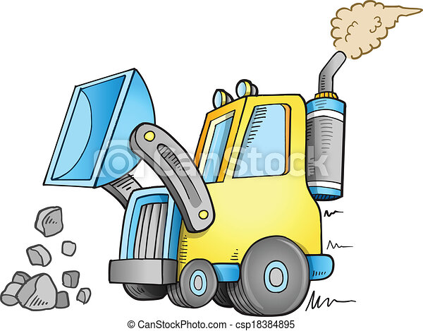 Construction Front Loader Vector - csp18384895