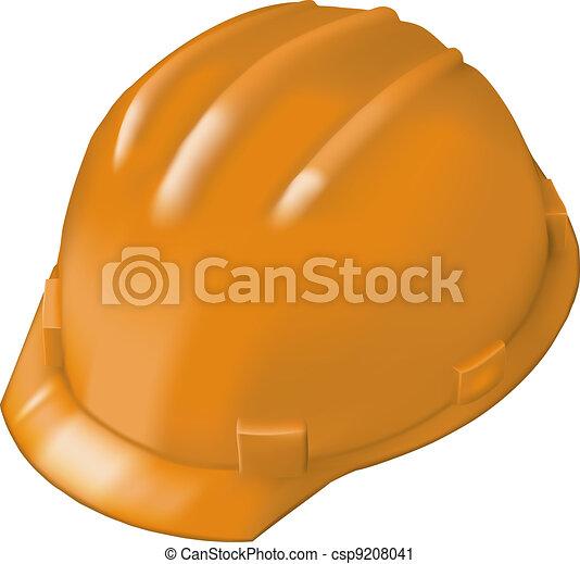 Construction hard hat on white - csp9208041