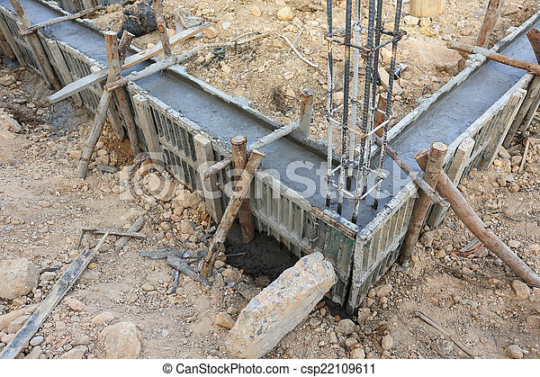 Construction House Reinforcement Metal Framework For Concrete Pouring Canstock