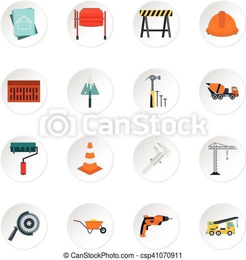 Construction icons set, flat style - csp41070911