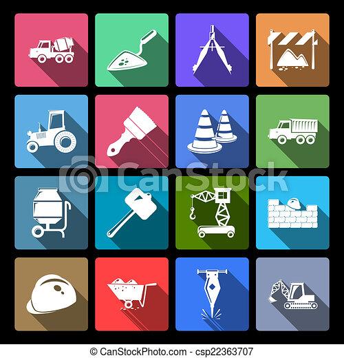 Construction Icons Set Flat - csp22363707