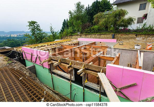 construction in solid brick construction - csp11584378