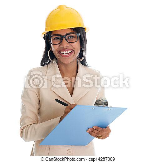 construction, indien, femme, ingénieur - csp14287009