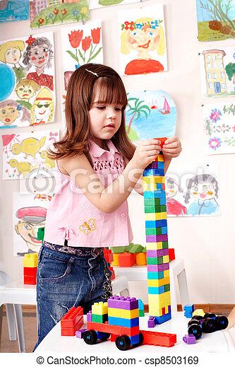 construction, jeu, enfant, preschooler, set. - csp8503169