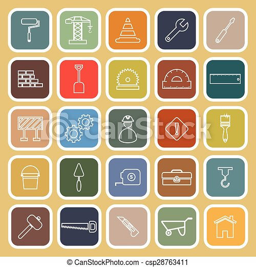 Construction line flat icons on brown background - csp28763411