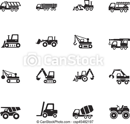 Construction Machinery Icon Set Construction Machinery Web Icons