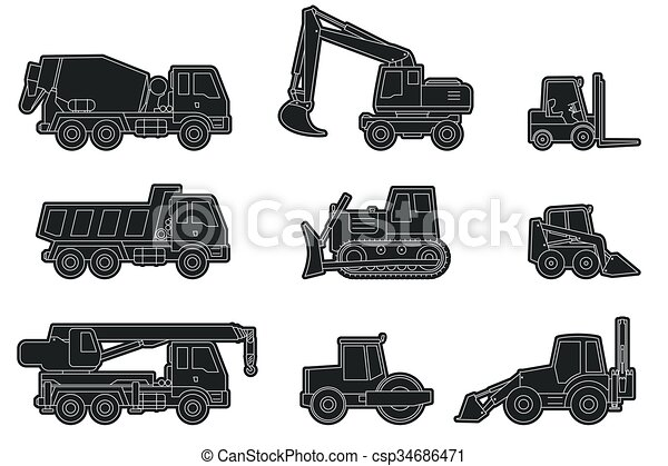 Construction Machinery Icons Vector Line Icons Of Construction