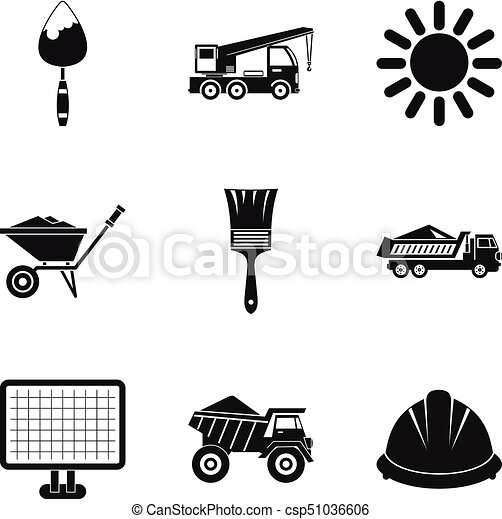 Construction Machinery Icons Set Simple Style Construction