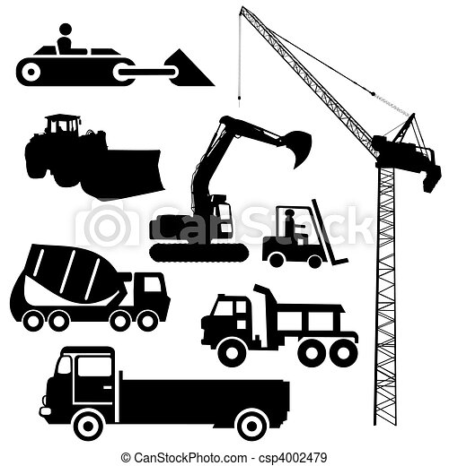 Construction machinery silhouettes - csp4002479