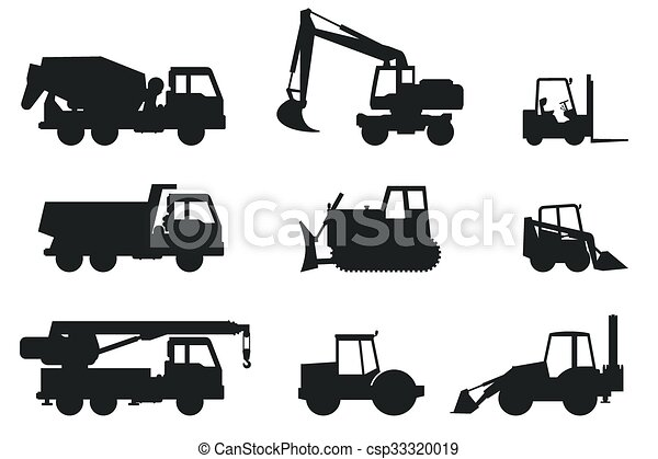 Construction Machines Silhouettes Construction Machines Black