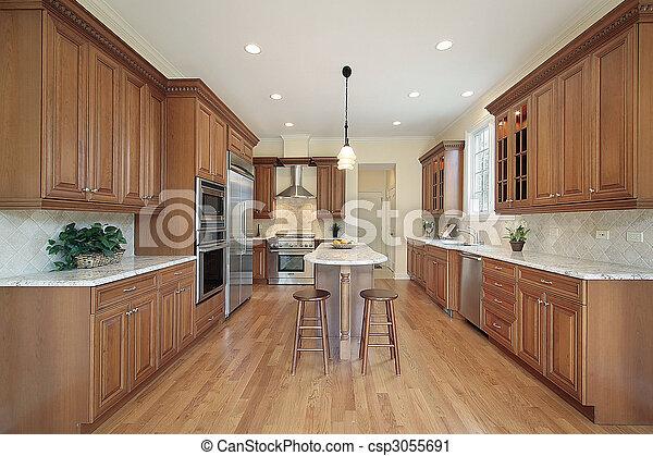 construction maison, cuisine, nouveau - csp3055691