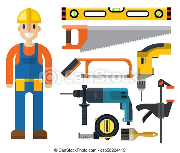 Construction man and building tools carpenter industry ...