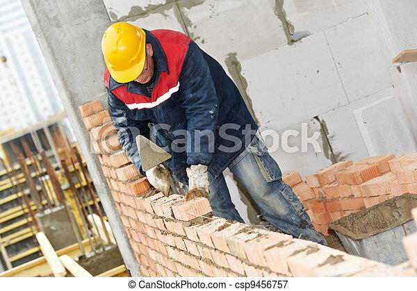 construction mason worker bricklayer - csp9456757