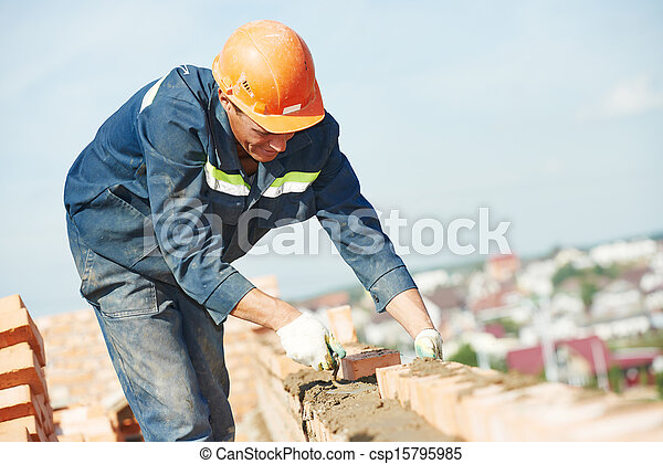 construction mason worker bricklayer - csp15795985