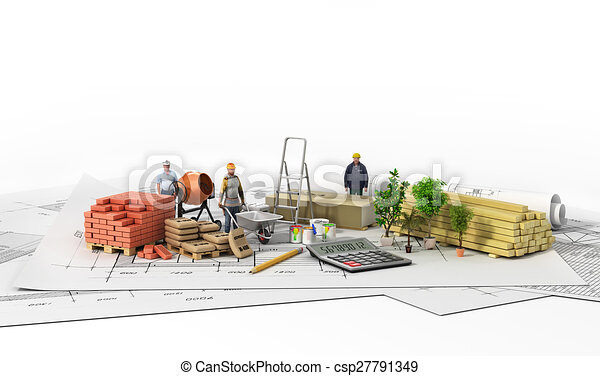 Construction materials with blueprint on the wtite background malvernweather Choice Image