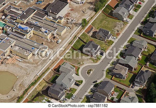 Construction Next to Suburban Street - csp7881182