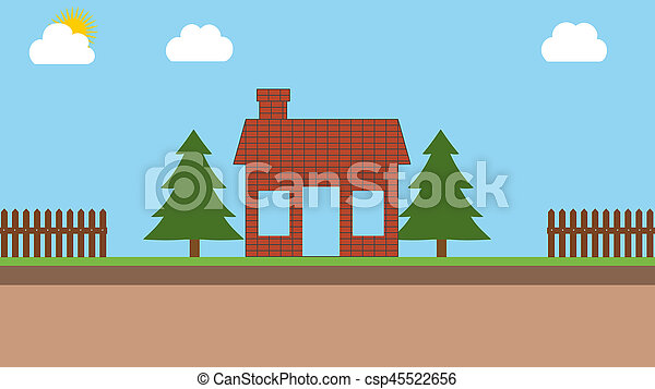 construction of a brick house - csp45522656