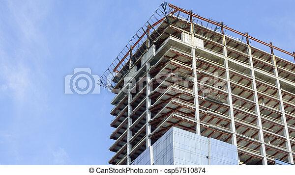 Construction of a modern building - csp57510874
