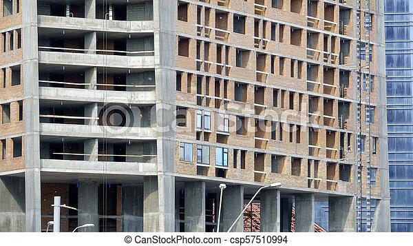 Construction of a modern building - csp57510994