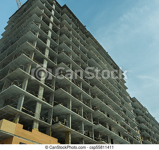 Construction of a modern high-rise residential building - csp55811411
