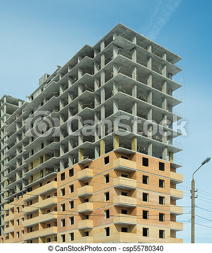 Construction of a modern high-rise residential building - csp55780340