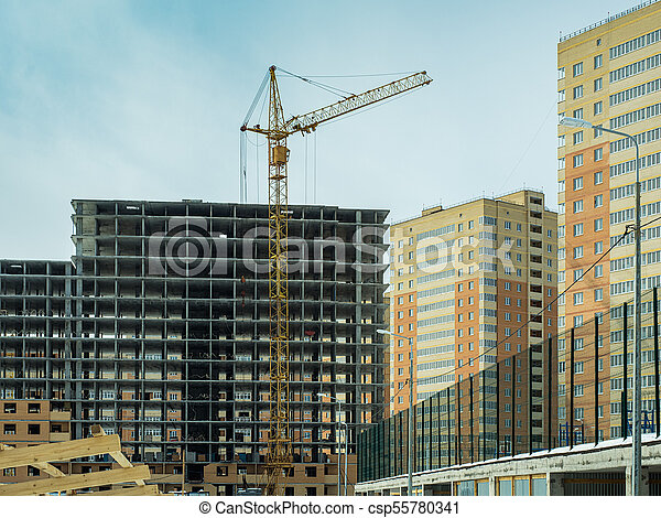 Construction of a modern high-rise residential building - csp55780341