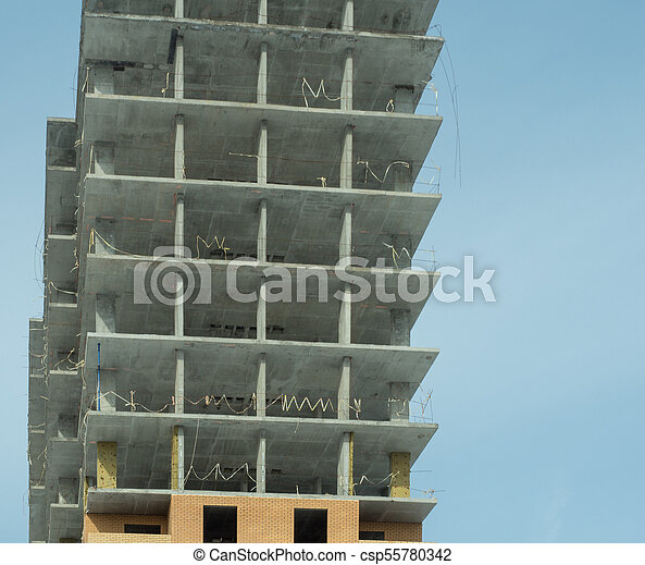 Construction of a modern high-rise residential building - csp55780342