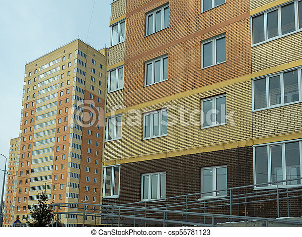 Construction of a modern high-rise residential building - csp55781123