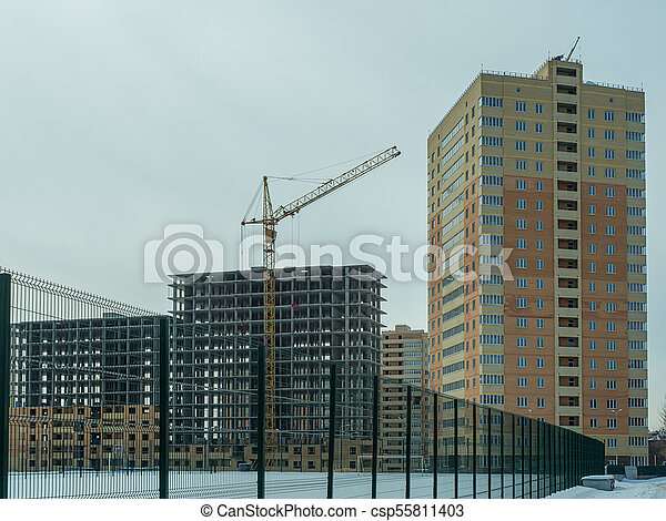 Construction of a modern high-rise residential building - csp55811403