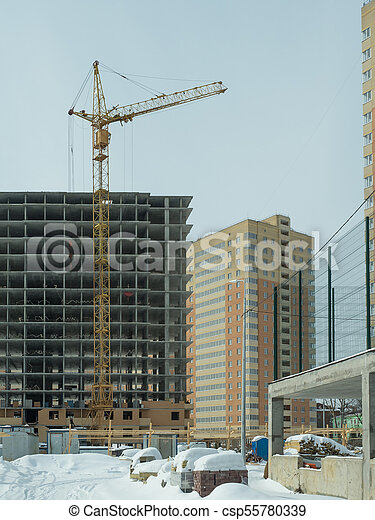 Construction of a modern high-rise residential building - csp55780339