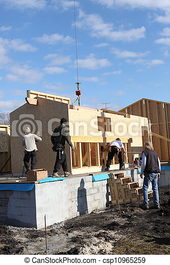Construction of a wooden house - csp10965259