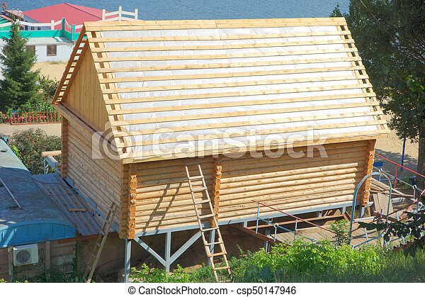 Construction of a wooden house. View from above