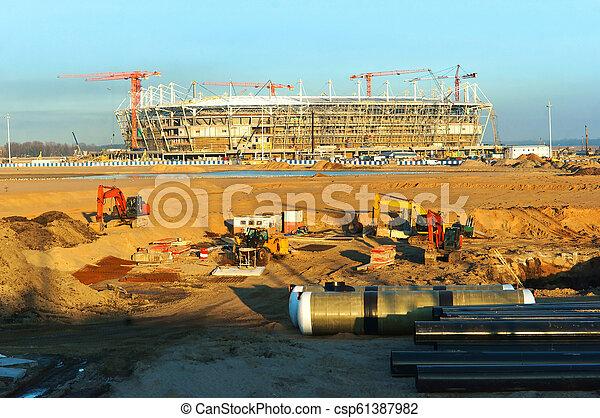 construction of football stadium - csp61387982