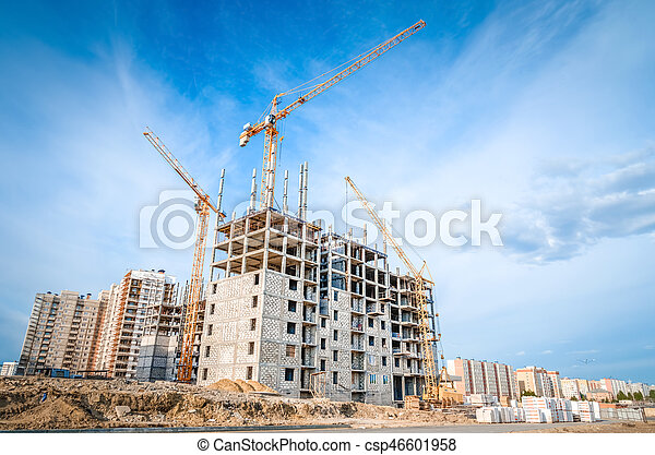 Construction of high-rise houses and construction works - csp46601958