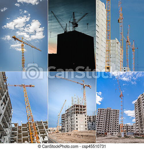 Construction of skyscraper and hoisting crane. Collage. - csp45510731