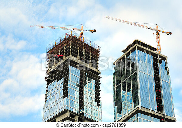 Construction of skyscrapers from glass, a steel and concrete of a complex of the international business centre Moscow-city, Moscow, Russia - csp2761859