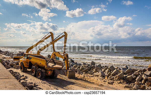 Construction of the breakwater - csp23657194