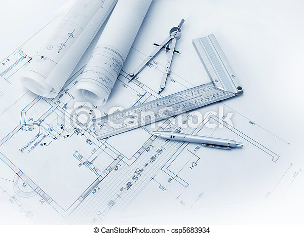 Construction plan tools and blueprint drawings stock photo search construction plan tools csp5683934 malvernweather Choice Image