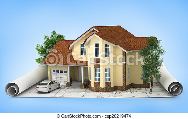 construction plan with house and wood 3d - csp20219474