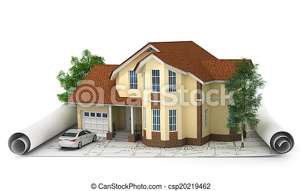 construction plan with house and wood 3d - csp20219462