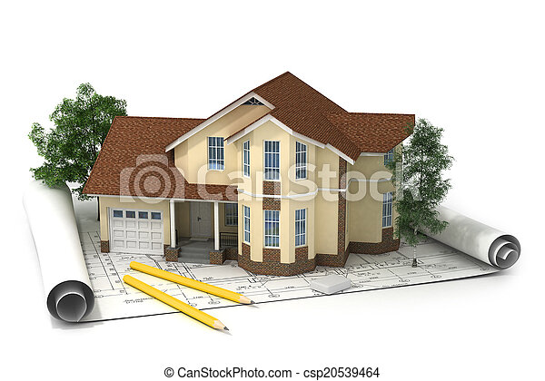 construction plan with house and wood 3d - csp20539464