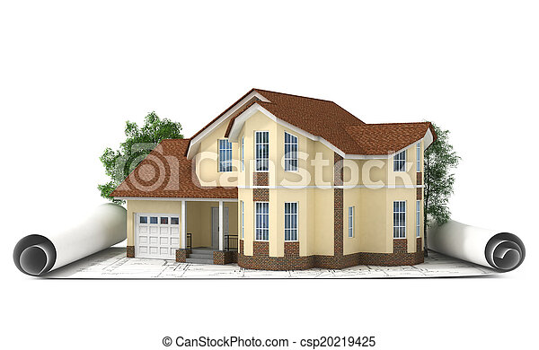 construction plan with house and wood 3d - csp20219425