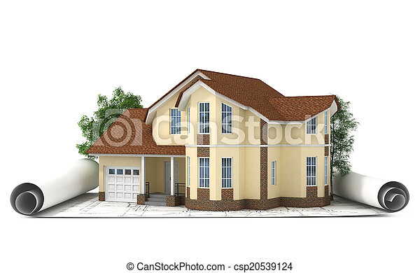 construction plan with house and wood 3d - csp20539124