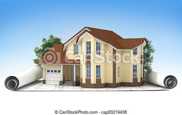 construction plan with house and wood 3d - csp20219438