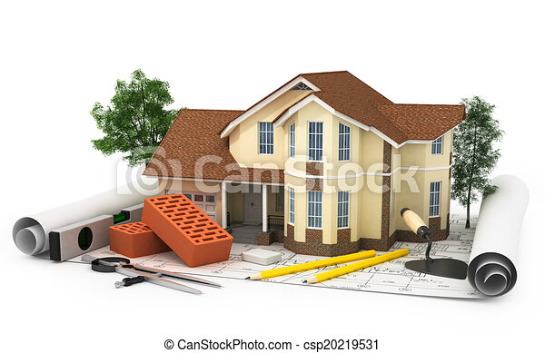 Construction Plan With House, Wood And Pencil, 3d   Csp20219531