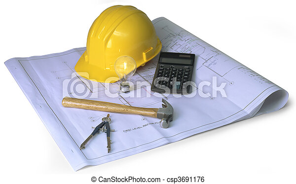 construction planning on white - csp3691176
