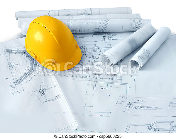 Construction plans and hard hat - csp5680225